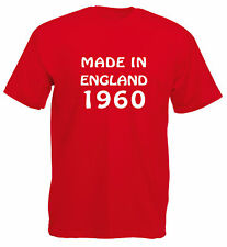Made In England 1960, 61, 62, 63, 64, 65, 66, 67, 68, 69 T-Shirt in red.