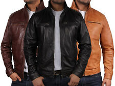 Brandslock Mens Genuine Leather Biker jacket Bomber Distressed
