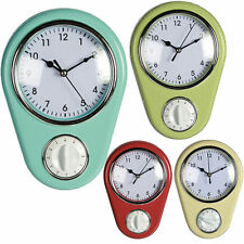 KITCHEN WALL RETRO CLOCK WITH TIMER HOME OFFICE COOKING QUARTZ HANGING 4 COLOUR
