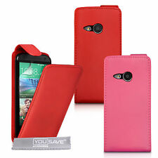HTC One M8 Mini PU Leather Flip Hot Pink Red Case Cover High Quality Protection