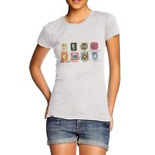 Women Quirky Gift Idea Old Stamps Collection Print T-Shirt