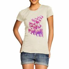 Women's Pink Elephants On Parade Cotton T-Shirt
