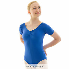 Ladies Nylon Lycra Dance Gear Emily Short Sleeved Dance Leotard