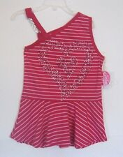 NEW ONE STEP UP GIRLS FUSHIA & WHITE STRIPED SPARKLE CARE TOP 7/8, 10/12