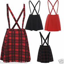 Ladies Womens Tartan Brace Pinafore Dungaree Short Mini Skater Skirt Dress