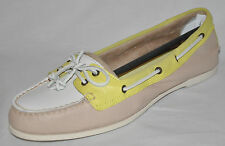 SPERRY TOP-SIDER Audrey White Yellow Beige Leather Boat Shoes Size 9M or 10M NEW