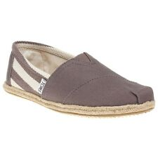 New Womens Toms Grey White University Canvas Shoes Slip On