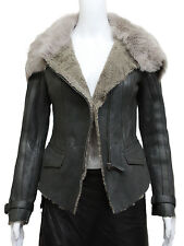 Brandslock Womens Genuine Leather Sheepskin Flying Jacket Coat With Real Fur