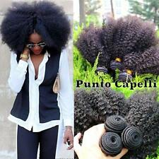 Extension Capelli Afro Kinky Ricci 4B 4C Nero Naturale 100% Umani Remy