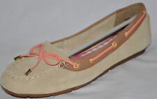 SPERRY TOP-SIDER Isla Beige & Peach Suede Loafers Mocs Size 7.5M NEW!