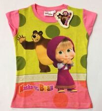 "T SHIRT-MAGLIA  BIMBA/BAMBINA  ""MASHA AND THE BEAR ORIGINALE COLORE ROSA"
