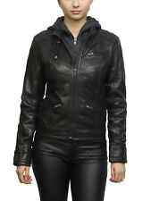 Brandslock Ladies Genuine Leather Biker Jacket Vintage Distressed