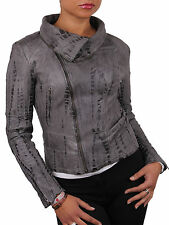 Brandslock Women Genuine Leather Biker Jacket Vintage