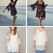 Donna Moda T-Shirt Lace Camicie Smock Perspective Pizzo Sexy Nuovo