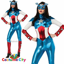 Womens Ladies Official Marvel Miss American Dream Fancy Dress Party Costume