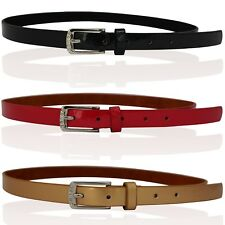 CHILDRENS REAL LEATHER SKINNY BELTS GIRLS BELTS KIDS BELTS DIAMANTE BUCKLE WZYH5
