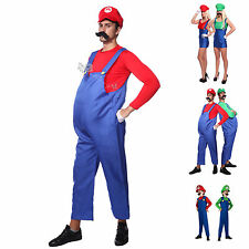 Carnevale Cosplay Costume Super Mario Luigi Bros Donna Uomo Bambini Fancy Dress