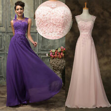 Applique BEAD Long Wedding Evening Formal Party Ball Gown Prom Bridesmaid Dress