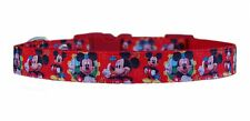 "handmade ""Red Mickey Mouse   small dog puppy collar 10""-15"" 5/8 fabric lead"