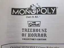2005 PARKER BROTHERS MONOPOLY THE SIMPSONS TREEHOUSE OF HORROR SPARE GAME PIECES