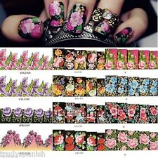 Nail Art Stickers Water Decals Nail Transfers Wraps Flowers Floral Porcelain