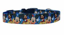 "BLUE ""MICKEY MOUSE ""  medium large dog puppy collar  & or lead set 1"" cushioned"