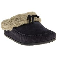New Womens FitFlop Blue The Cuddler Snugmoc Suede Slippers Slip On