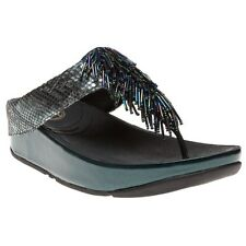 New Womens FitFlop Metallic Grey Cha Cha Synthetic Sandals Animal