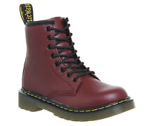 Kids Dr. Martens Junior Lace Up Boots Inside Zip Delaney Cherry Red Leather Kids