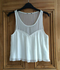 Topshop New Off White Cream Pleated Mesh Jersey Vest Cami Top 6 - 14 Bnwot