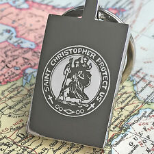 ENGRAVED St Christopher Travellers/Motorists/Protection Prayer Steel Keyring