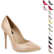 Spitze Damen Pumps High Heels Lack Stilettos Schuhe 76801 New Look