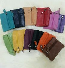 Small Leather Purse coins keys etc scrunchy softy leather all colours