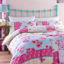 Catherine Lansfield Gypsy Patchwork Floral ThiPink Duvet Quilt Cover Bedding Set