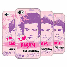 OFFICIAL ONE DIRECTION 1D  PINK GRAPHIC FACES HARD BACK CASE FOR APPLE iPHONE 4S