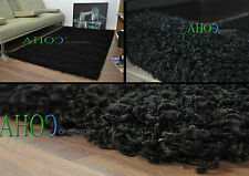 Black  Small X Large Modern Plain 5cm Shaggy Rugs Thick Soft Pile Area Rug Mats