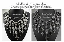 Skull + Crosses Choker Necklace Gothic Charm Chain Thick Strong Alloy Metal