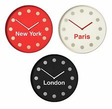 NewYork Paris London Wall Clock with Text Detail Different Countries Clock - NEW