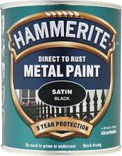 Hammerite SATBL750 750ml Direct to Rust Metal Paint Satin Finish - Black