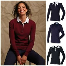 Womens Ladies Plain Rugby Shirt Polo Stripe Striped Diagonal Fitted Feminine Top