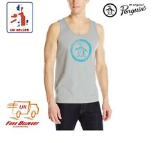 Mens Original Penguin Tank Top Vest Summer Training Gym Top Grey / Blue BNWT