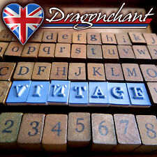 Rubber Stamp Alphabet 70 Wooden Box Set Print Style Wood Letter Number + Ink Pad