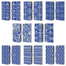 HEAD CASE DESIGNS DAZZLING BLUE PATTERN LEATHER BOOK CASE FOR APPLE iPOD TOUCH