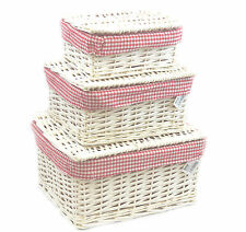 Wicker Storage Lidded  Xmas Hamper Basket With Red Lining In small,medium,Large