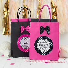 PERSONALISED HEN PARTY FAVOUR BAG   POLKA DOT ROUND   BIRTHDAY GIFT WITH BOW