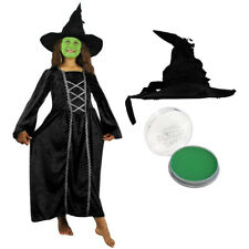 GIRLS WICKED WITCH FANCY DRESS COSTUME GREEN FACE PAINT HALLOWEEN FILM MOVIE