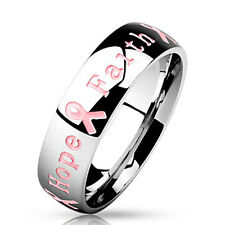 316L Stainless Steel 6mm Pink Ribbon Breast Cancer Awareness Band Ring,Size 5-12