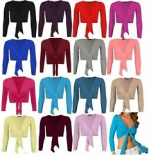 WOMENS LONG SLEEVE BOLERO SHRUG LADIES CARDIGAN TOP 6 - 22 'bolero_water