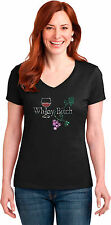 Ladies Rhinestone V Neck Funny Wine Drinking T Shirt Whiney Bitch Small to 3XL