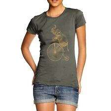 Twisted Envy Women's Elephant On Penny Farthing Organic Cotton T-Shirt
